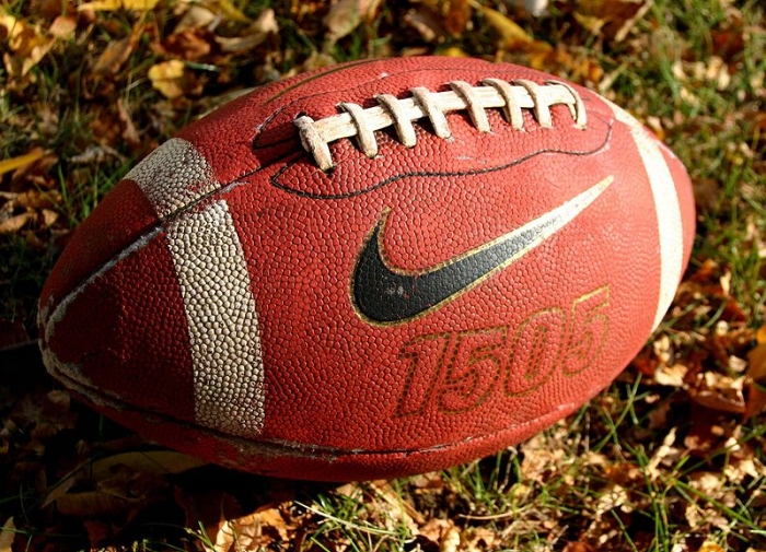 Photograph of a football sitting in the grass