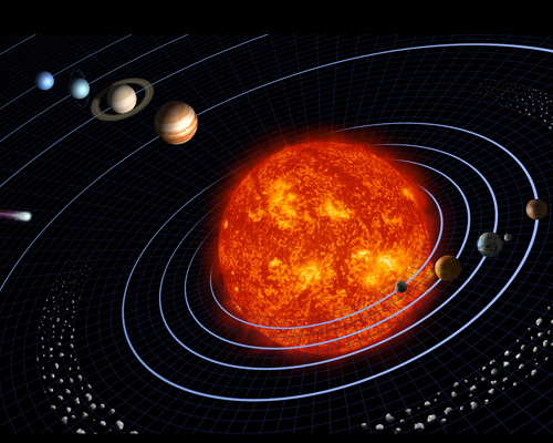 Artist's diagram of the planets in our solar system