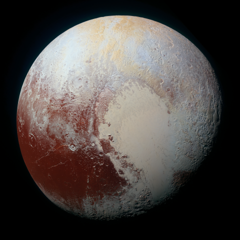NASA New Horizons image of the face of Pluto in enhanced color.