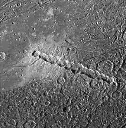Image of a crater chain on Ganymede, suggesting damage from a comet
