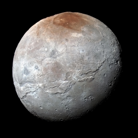 Image of Pluto's largest moon, Charon, as observed by New Horizons