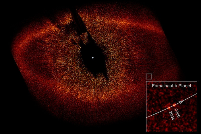 Coronagraphic image of the star Fomalhaut showing disk ring, colored red