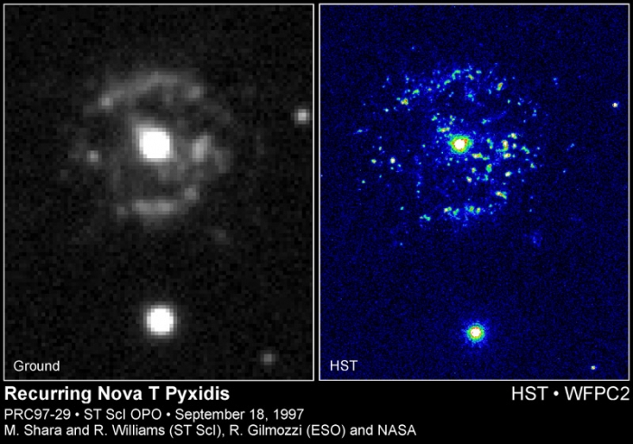Hubble Space Telescope and ground-based images of recurring nova T Pyxidis, which shows the central white dwarf surrounded by a ring of glowing material from the nova explosion.