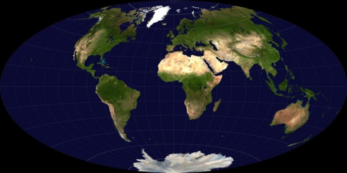 Image of a map of the Earth illustrating an Aitoff projection that shows the entire spherical Earth on a single flat map.