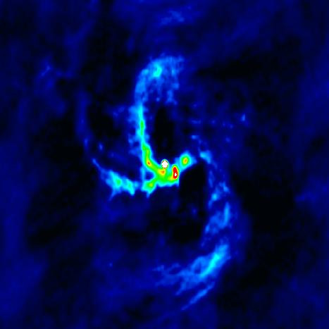NRAO VLA radio image of Sgr A West including spiral arms