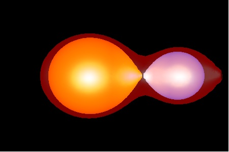 Colored image of a simulated contact binary
