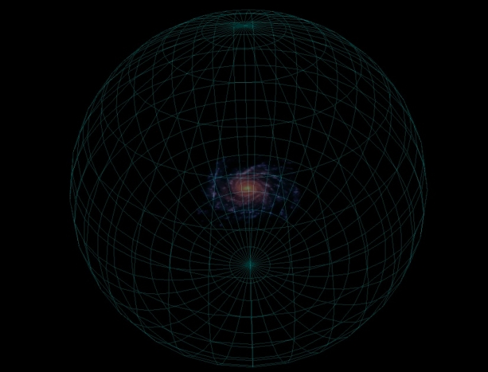 Schematic diagram of the dark matter halo of the Milky Way, represented by a wire-frame sphere that completely encloses, and is much larger than, the thin disk of the Milky Way.