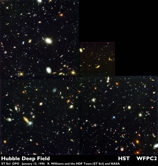 Telescopic image of the Hubble Deep Field showing all of the different galaxies
