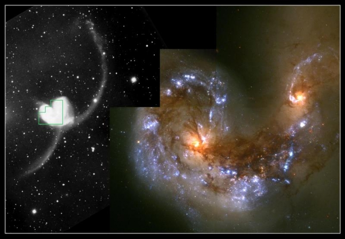 Hubble image and ground-based image comparison of the Antennae Galaxies