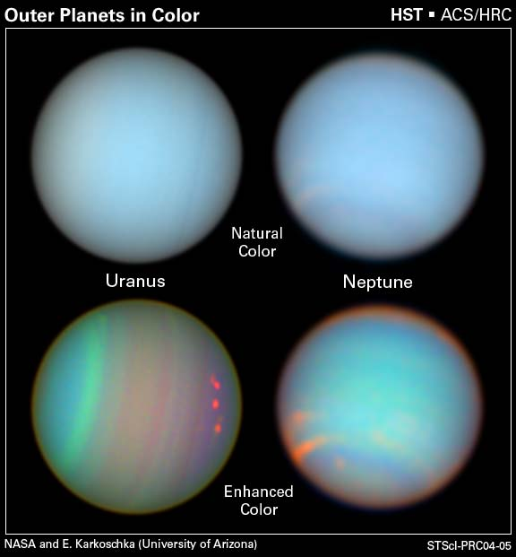 Hubble images of the planets Uranus and Neptune with both natural and enhanced color