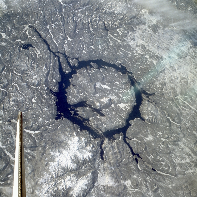 Space Shuttle STS-9 image of Manicouagan Crater, Quebec, Canada