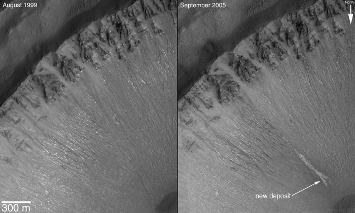 Images of a possible water feature on Mars
