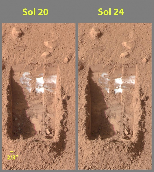 Mars surface from Mars Phoenix Lander, 2 images one titled Sol 20 with the other titled Sol 24