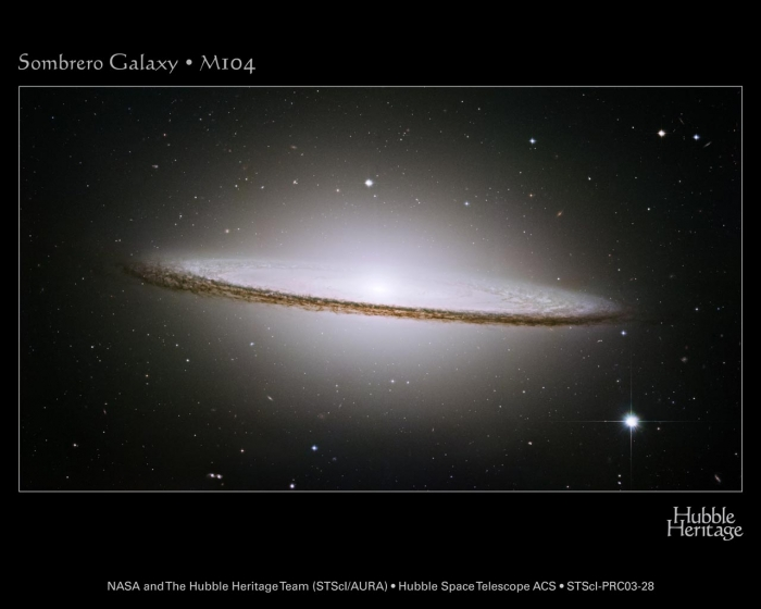 Hubble image of M104, an Sa spiral galaxy, seen edge-on