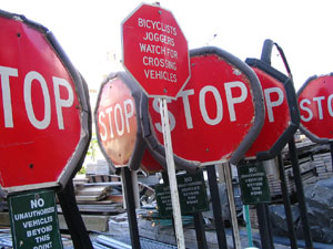 Several STOP signs