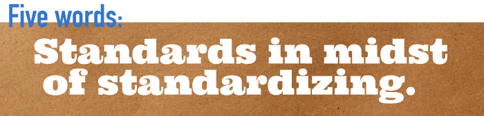 Five word summary - Standards in midst of standardizing