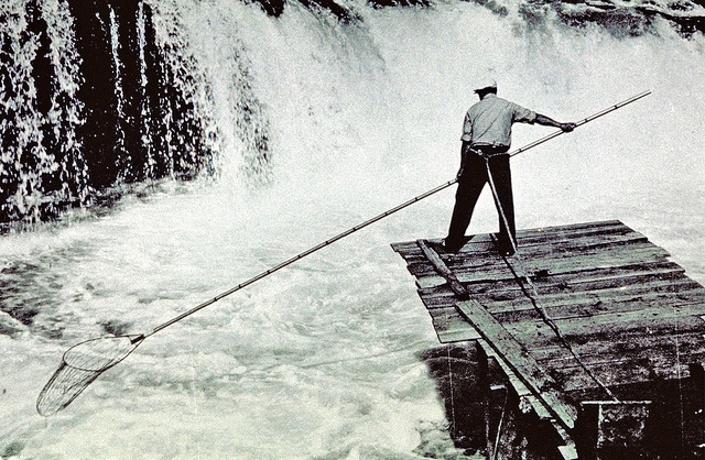 image of a man fishing in front of a waterfall with a net on a long pole