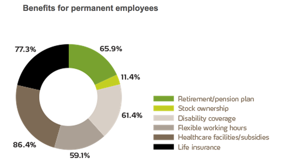 Benefits for Permanent Employees Chart. See text version below for more details.