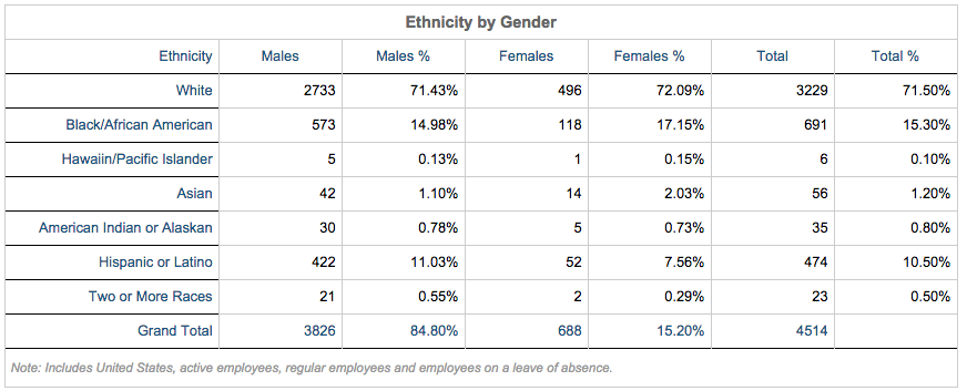 Ethnicity by Gender Table. See text version below for more details.