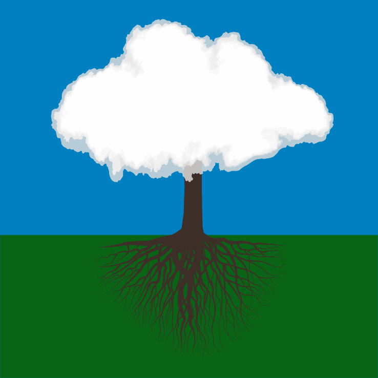 visualization of clouds and roots model: tree graphic with clouds as the leaves of the tree