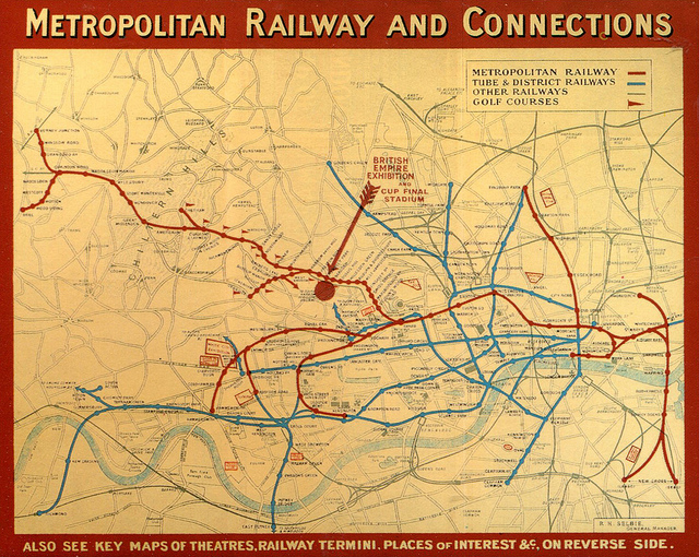 Old railroad map of metropolitan railway and connections.