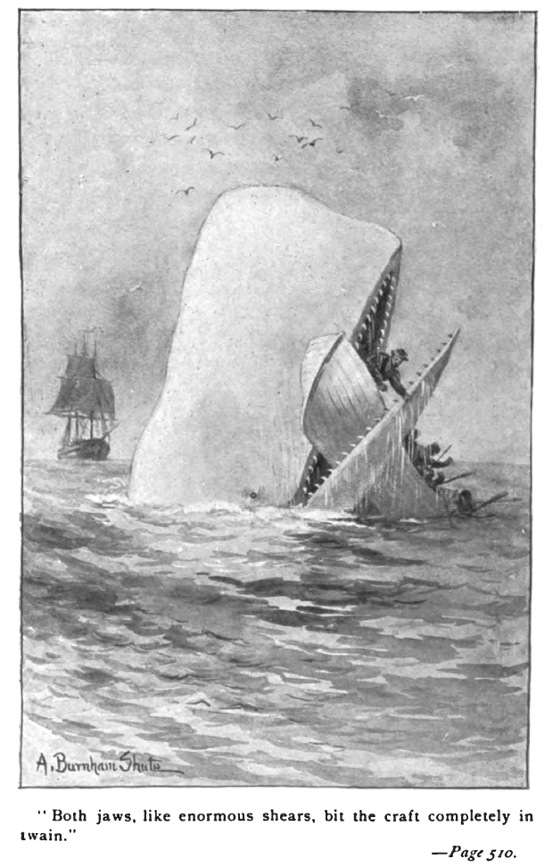 Moby Dick happily biting a wooden rowboat in two