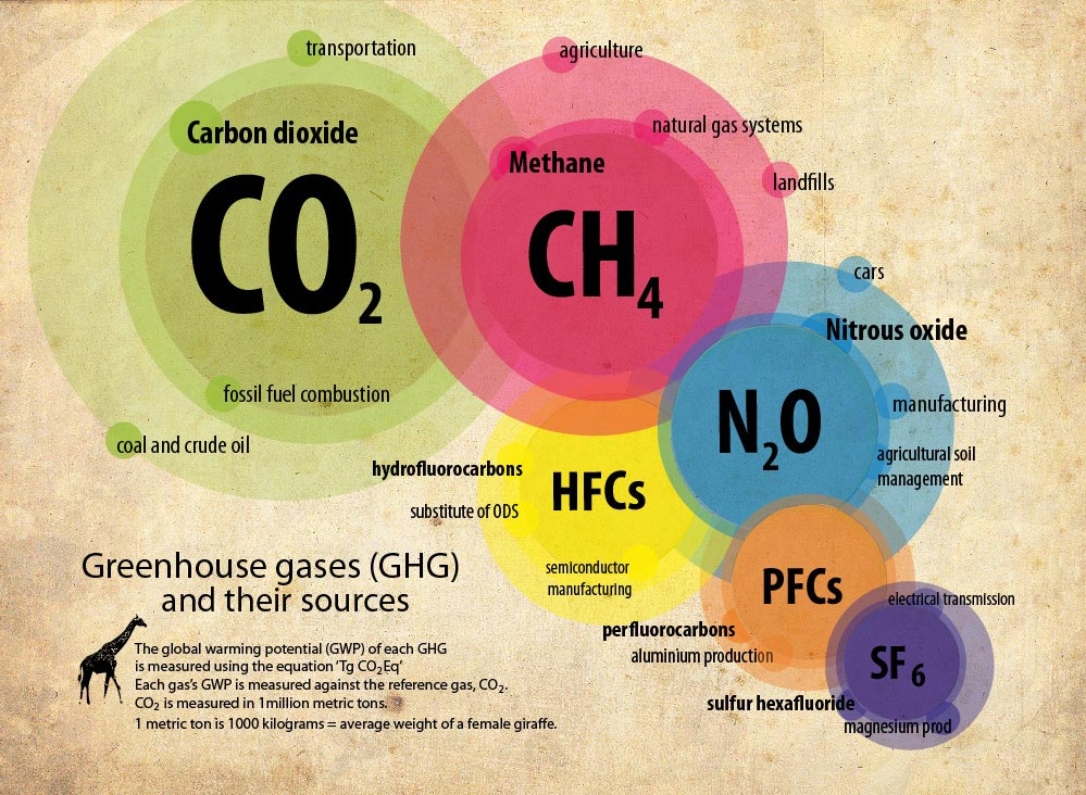 Graphic showing the components of greenhouse gas and their sources, gases: CO2, CH4, N2O, HFCs, PFCs, SF6