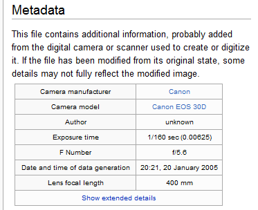 Table showing metadata for a photograph