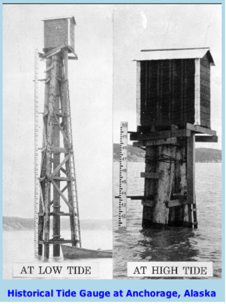Tide gauging station from Anchorage, Alaska, shown at low tide and high tide