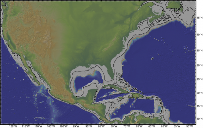 Elevation map of part of North America showing approximate position of shoreline during last glacial maximum, see image caption
