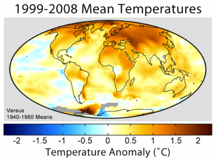 Temperature Anomalies comparing 1991-2008 Mean Temps versus 1940-1980