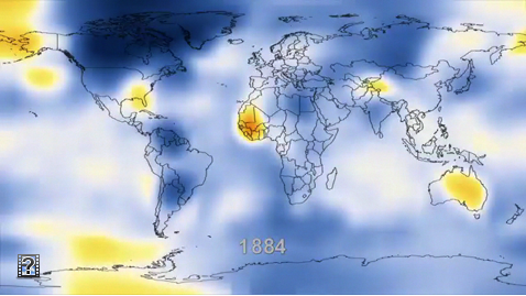 Animation of temperature change based on instrumental record of change since 1884.