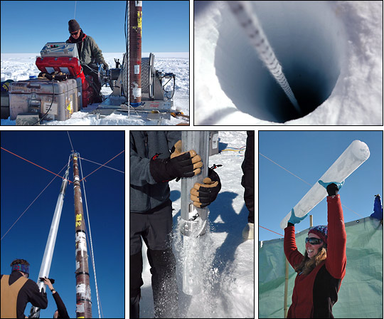 Drills and other equipment used to extract cores from ice sheets.