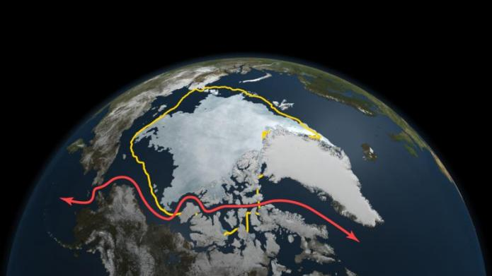 Satellite image of ice coverage in Arctic sea in September of 2011