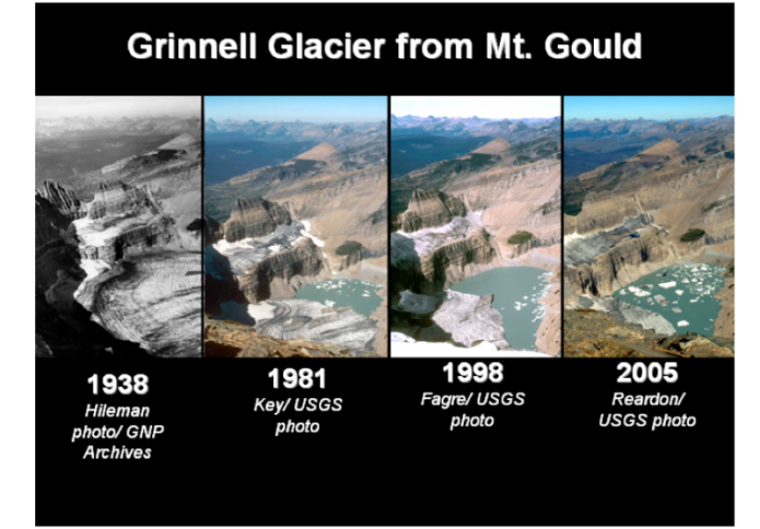 Four side-by-side images of Grinnell Glacier, Mt. Gould (1938, 1981, 1998, 2005)