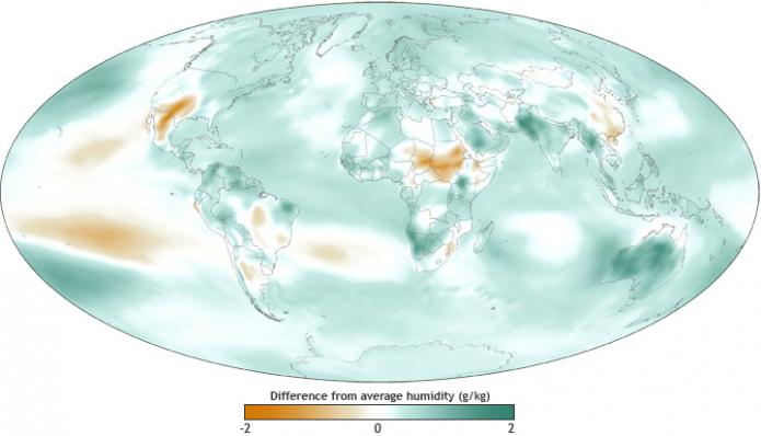 Map of relative changes in humidity (atmospheric water content) compared to average over the period of satellite observations 1981 – 2010