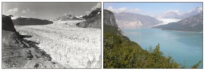 Muir Glacier in Alaska, as seen in 1941 and 2004. In the 2004 photograph, the glacier has melted almost completely.