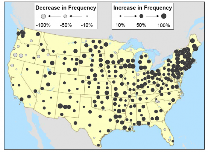 Map of U.S. showing results of the trends in the frequency of extreme storms as recorded by weather stations across the U.S.