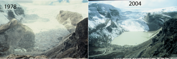 Two side-by-side photographic images of Qori Kalas Glacier Andes Mountains, Peru, 1978 and 2004