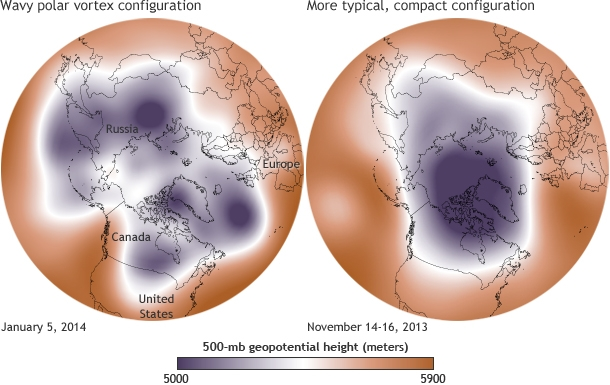 Maps show 500-millibar geopotential height on January 5, 2014 and mid November 2013.