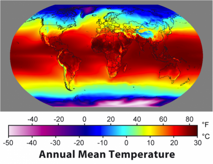 Graphic map of the world showing surface temperatures