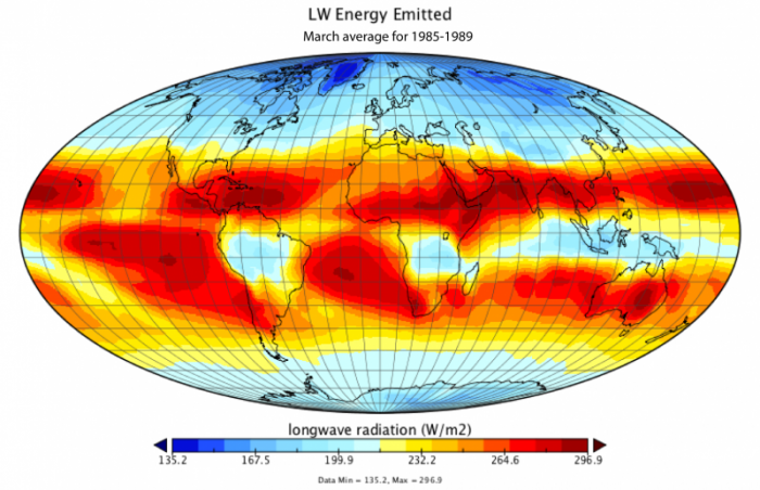 Global map of the emitted long wavelength energy averaged over March, 1985-1989