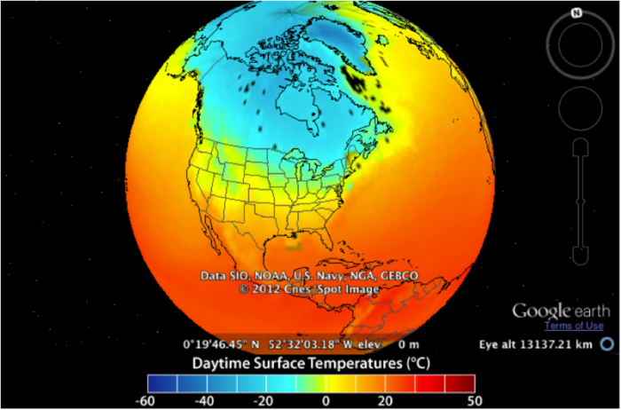 Colored map of observed mean January surface temperature 2003 – 2005