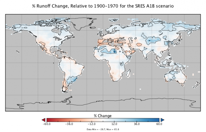 Map to show % runoff change relative to 1900-1970 for the SRES A1B scenario.