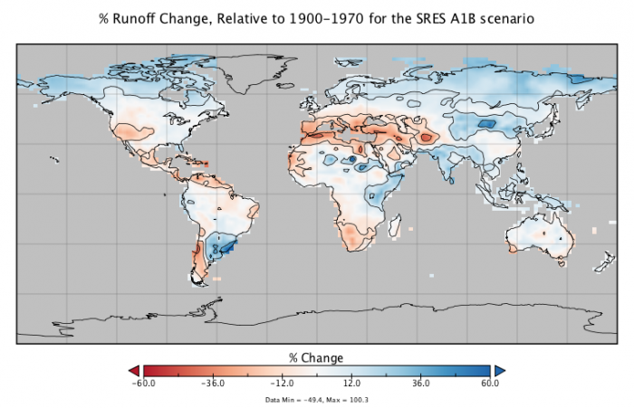 Map to show % runoff change in 2050 relative to 1900-1970 for the SRES A1B scenario.