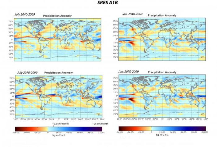 Precipitation anomaly maps of the SRES A1B scenario for the months of July and January.