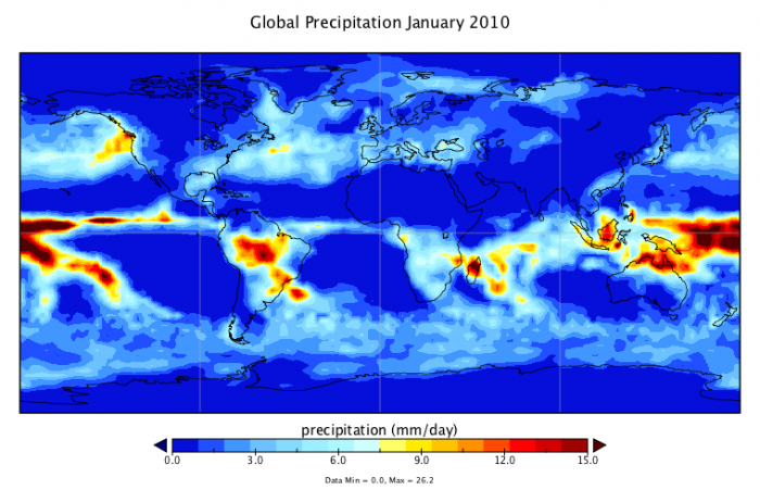 Graphic image of world map to show global precipitation for January 2010