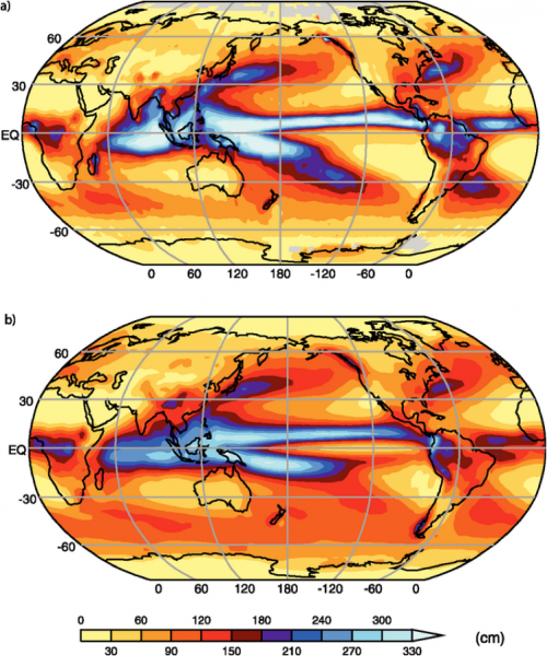 Two global images comparing observed annual precipitation and average of 14 models used by IPCC study