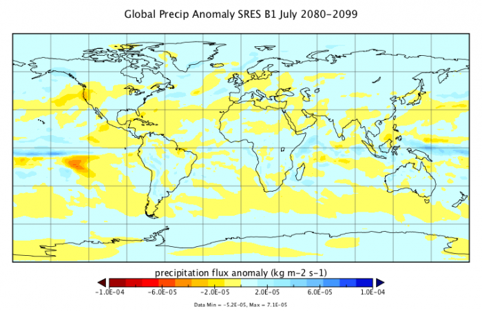 Map to show the Global Precipitation Anomaly SRES B1 for July 2080-2099.