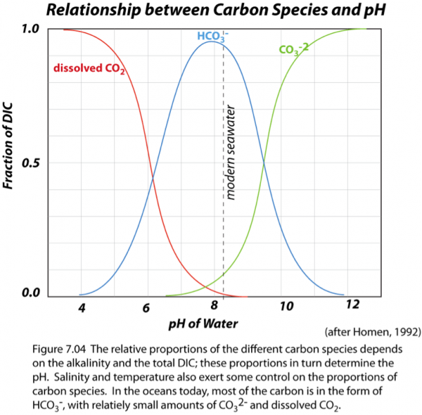 Graph of relationship between Carbon species and pH